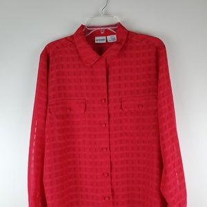 LIZ BAKER Red Blouse button-down Size 16 Sheer